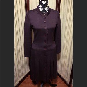 CHANEL Vtg Long Sleeve Pleated Wool Blend Dress.